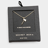 Secret Box _ 14K Gold Dipped Ax Pendant Necklace