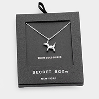 Secret Box _ White Gold Dipped Balloon Dog Pendant Necklace