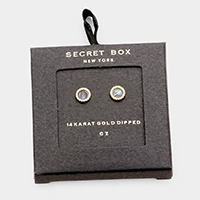 Secret Box - 14K Gold CZ Round Stud Earrings
