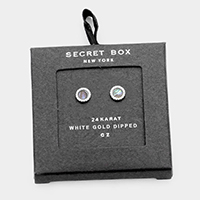 Secret Box - 24K White Gold CZ Round Stud Earrings