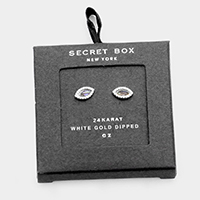Secret Box - 24K White Gold CZ Oval Stud Earrings