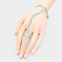 Crystal Pave Hand Chain Evening Bracelet