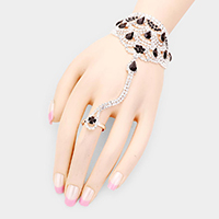 Crystal Pave Net Hand Chain Evening Bracelet