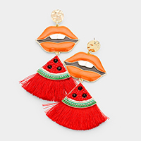 Enamel Lips Watermelon Tassel Dangle Earrings