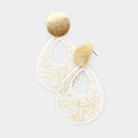 Cut Out Teardrop Filigree Metal Earrings