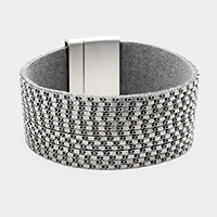 Faux Leather Metal Chain Magnetic Bracelet