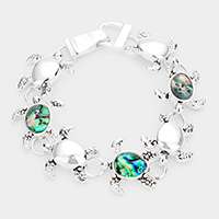 Abalone Accented Turtle Magnetic Link Bracelet