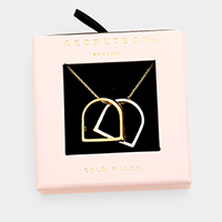 Secret Box _  Gold Filled Geometric Ring Pendant Necklace