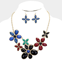 Resin Bead Cluster Floral Necklace