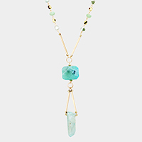 Natural Stone Pendant Beaded Long Necklace