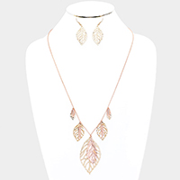 Multi Filigree Metal Leaf Necklace