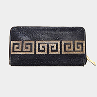 Crystal Rhinestone Pave Greek Pattern Zipper Wallet