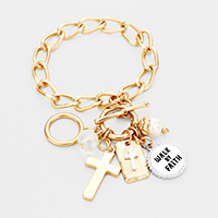 'Walk By Faith' Cross Pearl Charm Toggle Bracelet