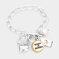 'Believe in Yourself' Heart Pearl Charm Toggle Bracelet