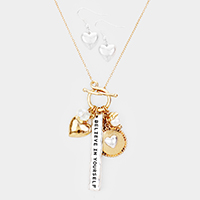 'Believe in Yourself' Heart Pearl Pendant Toggle Necklace