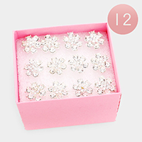12PCS - Crystal Rhinestone Paved Floral Hair Comb Pins