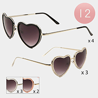 12PCS -  Heart Frame Sunglasses