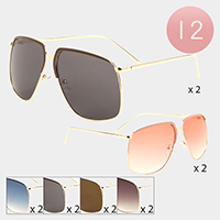 12PCS - Gold Frame Detail Boeing Sunglasses