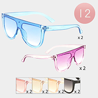12PCS - Oversized Clear Frame Aviator Sunglasses