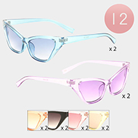 12PCS - Oversized Clear Cat Eye Frame Sunglasses