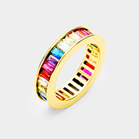 Gold Plated Colorful Rainbow CZ Ring