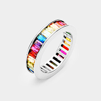 White Gold Plated Colorful Rainbow CZ Ring