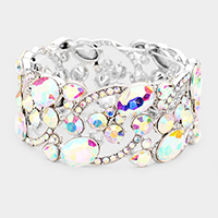 Glass Crystal Oval Butterfly Stretch Evening Bracelet