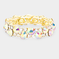 Glass Crystal Round Stretch Evening Bracelet