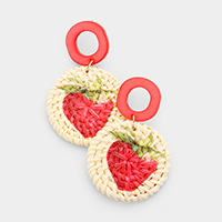 Strawberry Painted Woven Straw Post Earrings