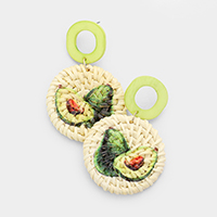 Avocado Painted Woven Straw Post Earrings