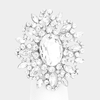 Oval Crystal Cluster Stretch Ring