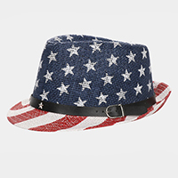American Flag Faux Leather Belt Fedora Hat