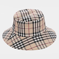 Plaid Check Pattern Reversible Bucket Hat