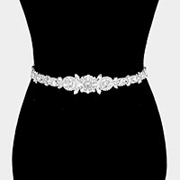 Crystal Pave Bow Sash Ribbon Bridal Wedding Belt / Headband