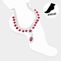 Crystal Marquise Accented Rhinestone Pave  Anklet