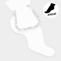 Crystal Teardrop Accented Rhinestone Pave Anklet