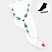 Crystal Teardrop Accented Toe Ring Anklet