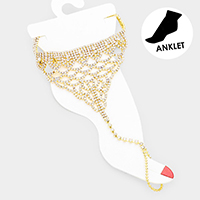 Crystal Pave Net Toe Ring Anklet