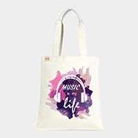 'Music Is My Life' Cotton Canvas Eco Tote Bag