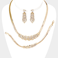 3PCS - Rhinestone Pave Leaf Metal Chain Necklace Set