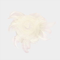 Feather Mesh Net Floral Clip Brooch Fascinator
