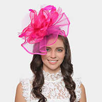 Feather Flower Mesh Fascinator / Headband