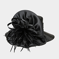 Bow Floral Feather Braid Dressy Hat
