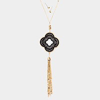 Quatrefoil Filigree Pendant Tassel Necklace