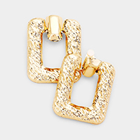 Cut Out Rectangle Metal Clip On Earrings