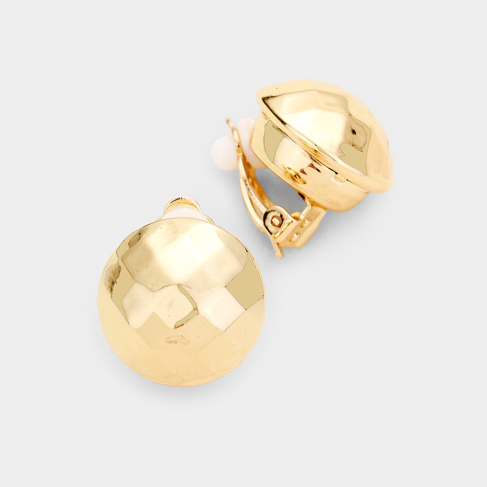 Metal Dome Clip On Earrings