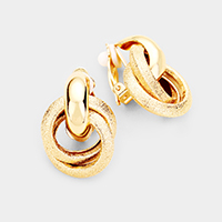 Textured Metal Multi Round Clip On Earrings