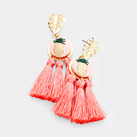 Embroidery Pineapple Triple Tassel Drop Earrings
