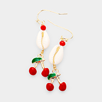 Enamel Cherry Puka Shell Dangle Earrings