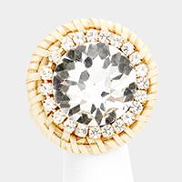 Round Crystal Rhinestone Trimmed Weave Ring